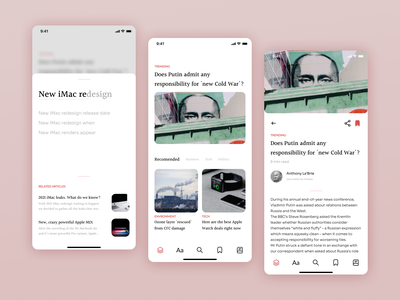 News App mobile app uxui ux concept ui design search bar search news articles article newsfeed news app ui news app