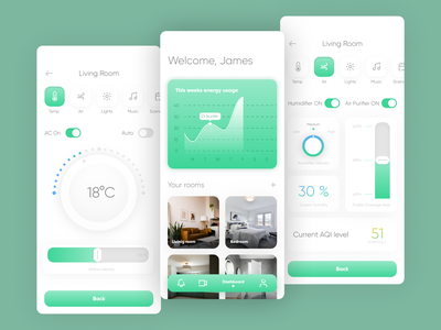 Smart Home App Concept mobile app uxui ux concept ui design dials dial graph dashboard dashboard ui energy usage air purifier air conditioning temperature home smart smart home app smart home