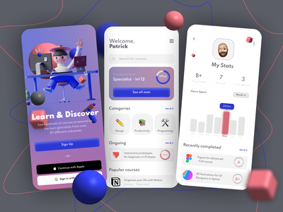 Online Learning App Sign Up and Dashboard UI mobile app uxui ux concept ui design user profile 3d sign up onboarding dashboard online course online learning