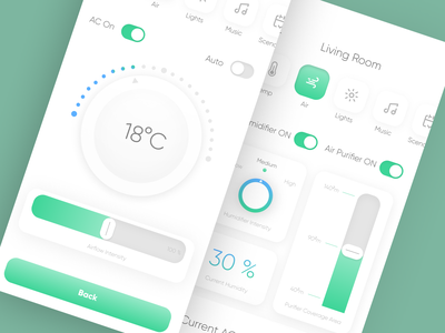 Smart Home AC and Air Quality Manager smart home app shadows green simple clean clean ui mobile app uxui ux concept ui design air quality air purifier temperature air conditioner smart home