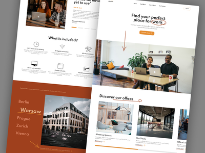 Shared Space Offices Landing Page Concept landing page clean ui clean uxui ux concept ui design mobile website mobile webdesign website co-working space co-working shared space