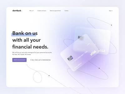 dot•Bank clean simple design ux uxui ui concept website gradient glass cards page hero financial banking 10clouds 10c