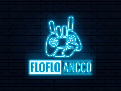 Neon Light Gaming Logo minimalist marvel controller joystick design logo gaming light neon blue