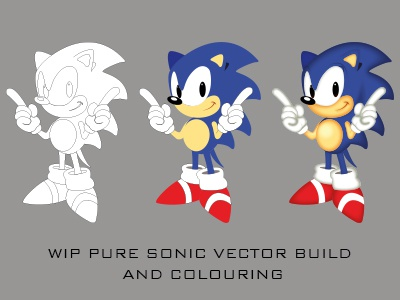 Pure Vector Sonic Illustration and Colouring wip vector poster sonic mania illustrator only sega sonic