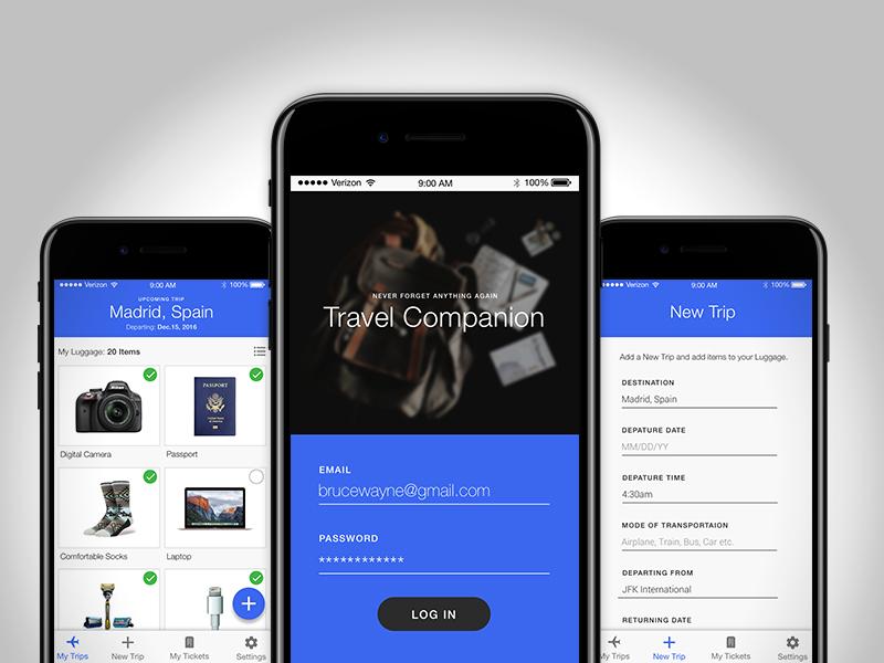 Travel Companion freebie user interface mobile design travel app ui sketch