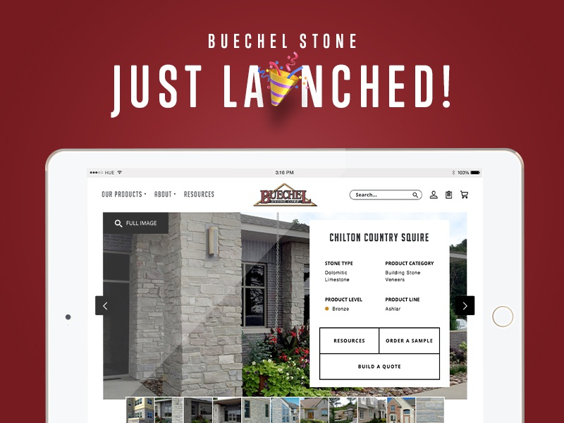 Just Launched! –Buechel Stone stone black and white ecommerce user interface ui wordpress web design