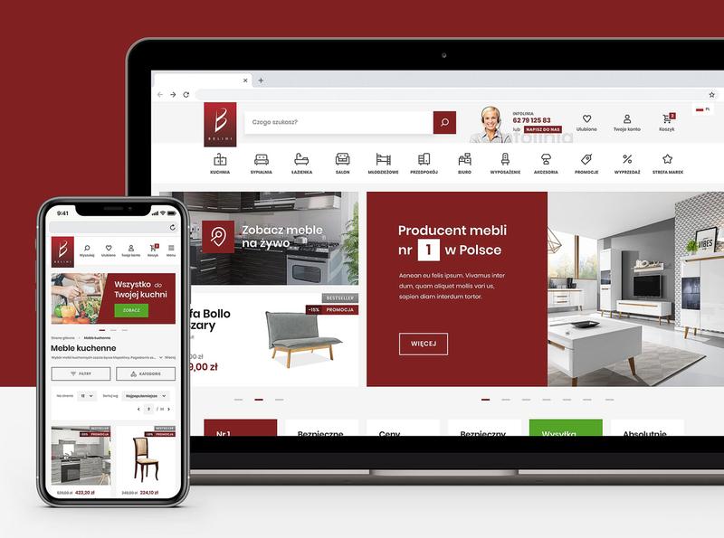 Belini products furniture mobile store ui ux online store online shop responsive website