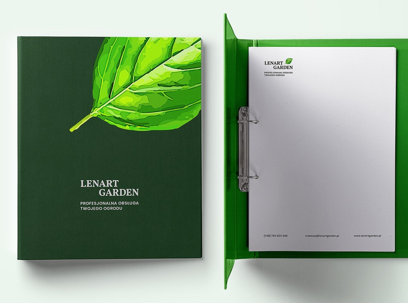 Lenart Garden serif leaf terrace garden folder print stationery branding visual identity logo