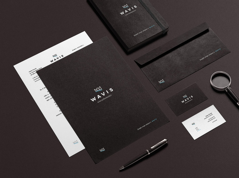 Wavis agency real estate minimalistic print stationery branding visual identity logo