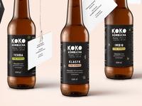 KOKO Kombucha brand craft handmade creative kombucha drink label packaging product design stationery visual identity branding logo