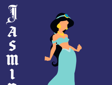 Jasmine illustrator typography vector illustration disney art design