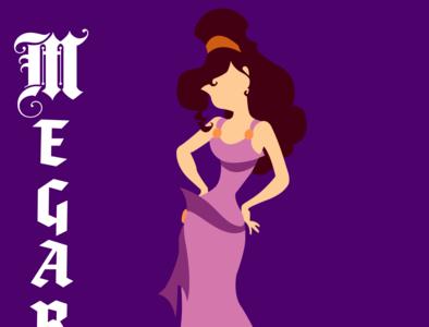 Megara illustrator vector typography illustration disney art design
