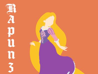 Rapunzel illustrator vector typography illustration disney art design