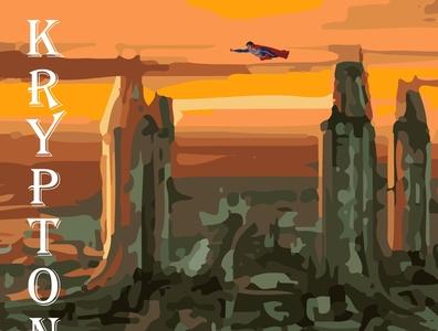 Kryptonopolis superhero marvel illustrator vector typography illustration design