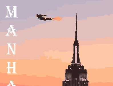 Manhattan superhero marvel illustrator vector typography illustration design