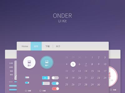 ONDER - UI Kit button freebie psd ui kit ui web gradient dark sky purple flat profile