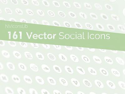 NViconsLib - 161 vector Social Icons on Github freebie vector social icons icon svg psd