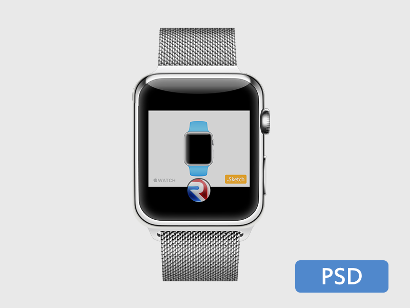 Apple Watch .PSD applewatch psd freebie vector template free metal strap iwatch