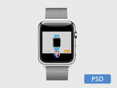 Apple Watch .PSD applewatch psd freebie vector template free metal strap iwatch