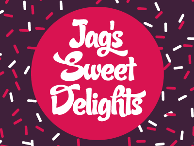 Jag's Sweet Delights brand logo purple pink bright sprinkles vector illustrator type 100s and 1000s design circular candy script candy script