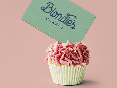 Cakery Business Card Design cake logo cupcake logo bakerylogo pastel midcenturymodern midcentury cakery branding bakery logo 1950s business card design
