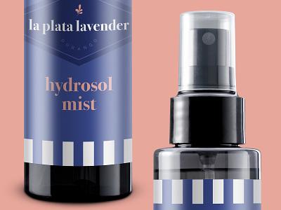 Lavender Hydrosol Mist simple packaging colorado serif logo striped packaging feminine branding lavender spray bottle skin care packaging face product hydrosol lavender logo