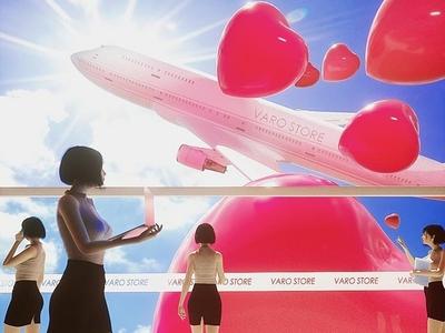 Spring varostore c4d office airport love airplane 3d illustration