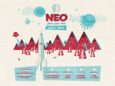 Neo Space Cadet neo illustration retro card