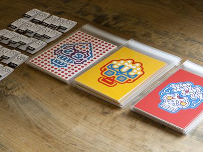 Modular Monsters typeface momo yellow red blue modular monsters illustration packaging postcard set