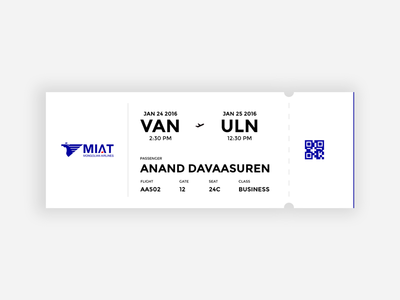 Mongolian Airlines - Boarding pass