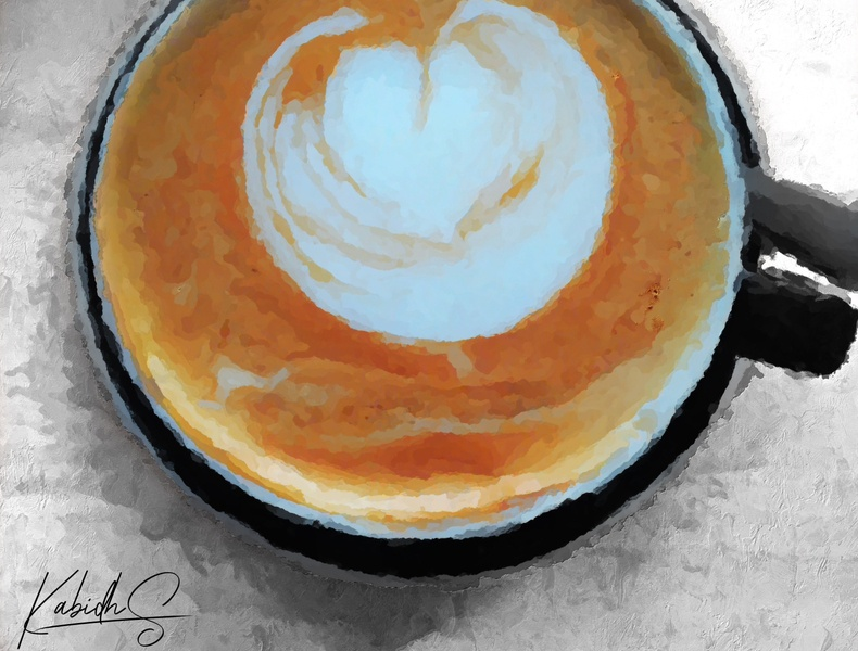 Morning Coffee Digital Paint latte art latte cappuccino coffee digital illustration digital painting digital art digitalart