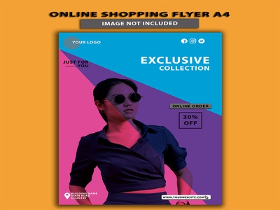 Online Shopping Fashion Sale Advertisement Flyer A4 publisher marketing abstract leaflet publication presentation promotion flyer template brochure corporate business