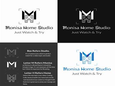 Logo Design Presentation for a Client | Monisa Home Studio media logo video logo camera logo m letter logo home logo studio logo logo presentation logotype vector design illustration logo design logo