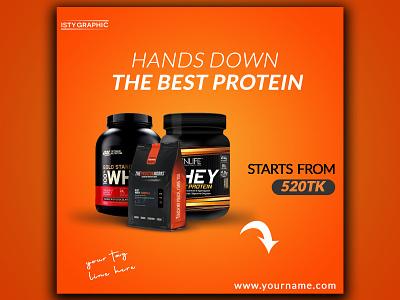 Social Media Post Design Facebook Instagram Marketing product design poster design design illustration instagram post facebook ads social media post design whey protein protein fitness gym advertisment social media design