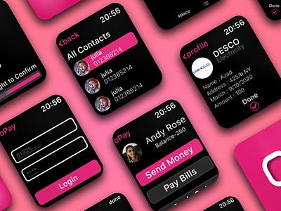 Watch App UI kits for Online Payment Getaway financial app ui kits figma ui kits app ui apple watch app watch ui kits