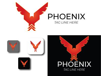 Phoenix Logo Template + wings logo design logo illustration illustrator bird logo phoenix logo fly flame fire fantastic eagle company business branding brand bird art