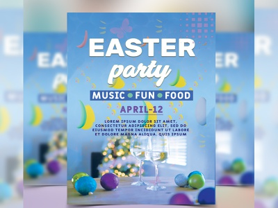 Easter Party Flyer photoshop template church flyer template party flyer flyer design flyer easter bunny easter egg easter