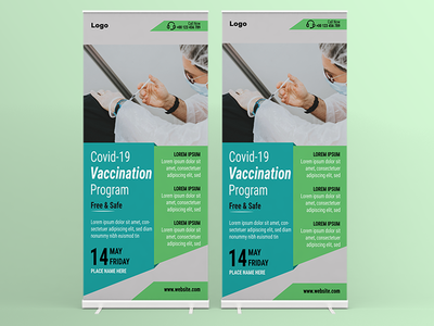 Covid-19 Coronavirus Vaccination Roll Up Banner Vector Tempalte vector template vector illustration flyer template roll up banner health vaccination coronavirus covid19 vector design illustration