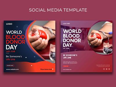 Blood Donation Social Media Template healthcare awareness branding vector design post template social media blood donation