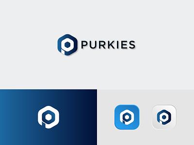 Purkies-P letter logo app modern logo illustration icon logo brand identity brand design minimal design p letter logo branding