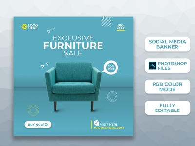 Furniture Social Media Post Templates I Ad Banners branding facebook ad instagram stories instagram banner instagram post advertising product banner ad design social media post social media design social media banner furniture ad banner