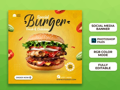 Food Social Media Post Templates I Social Media Banner brand design branding ad banner web banner facebook ad instagram template instagram stories instagram banner instagram post social media banner social media design social media post food food banner