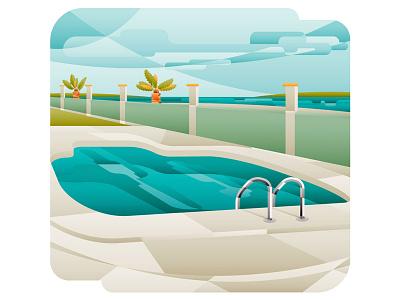 The Beach Pool decorative vector summer beach pool illustration