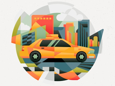 The Taxi - Side building car driver side road city cab transportation yellow