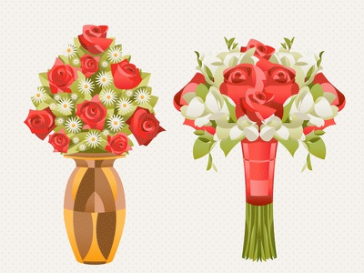 The Specials flat illustration special bouquets red rose