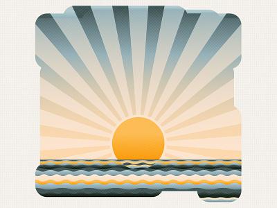 Sun rise or sun set? illustration yellow shine sea wave sky rise set ocean sun