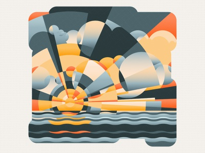 The Sunset wave ocean sea orange dark cloud sky illustration sunset