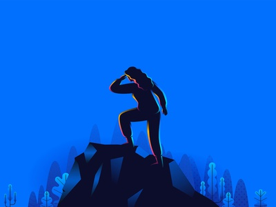 the Woman Leader top mountain leadership leader travel woman blue landingpage vector ui illustration