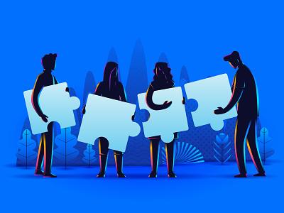 Can you solve it? pattern fantasy connecting illustration web design developer ui teamwork puzzle web illustration landing page