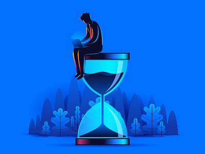 Productivity & Time sandglass professional sitting schedule concept design landing page laptop business man illustration management time productivity hourglass